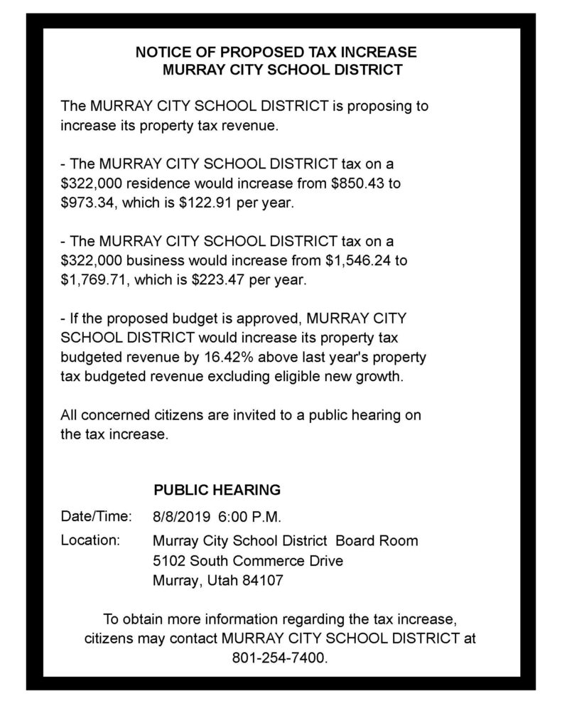 Public Hearing for Proposed Tax Increase