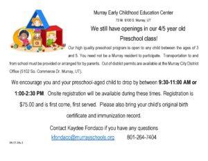 ECEC Openings flyer