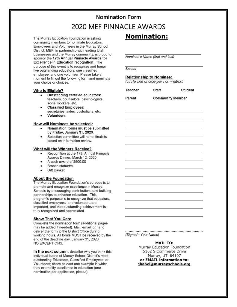 Pinnacle Nomination form photo